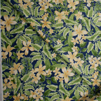 Yellow and GreenIsland Floral on Blue Designer Cotton Shirting from 'Tori Richards' Fabric By The Yard - Wide shot