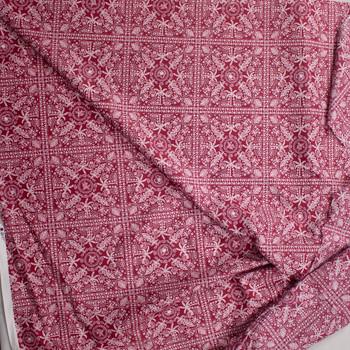 Beachside Bandana on Red Designer Cotton Shirting from 'Tori Richards' Fabric By The Yard - Wide shot