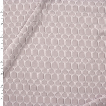 Light Grey Honeycomb Textured Midweight Athletic Spandex Fabric By The Yard