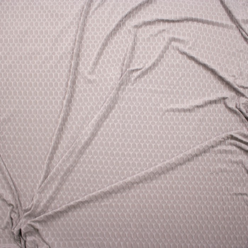 Light Grey Honeycomb Textured Midweight Athletic Spandex Fabric By The Yard - Wide shot