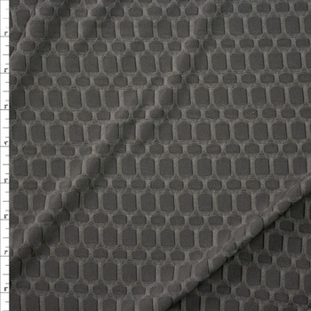 Charcoal Honeycomb Textured Midweight Athletic Spandex Fabric By The Yard