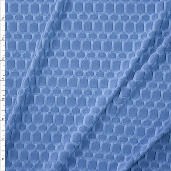 Denim Blue Honeycomb Textured Midweight Athletic Spandex Fabric By The Yard