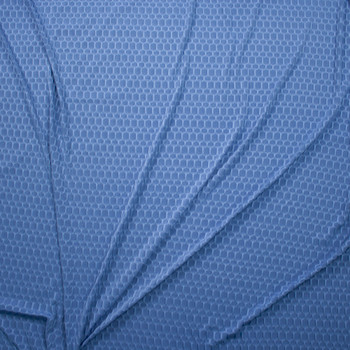 Denim Blue Honeycomb Textured Midweight Athletic Spandex Fabric By The Yard - Wide shot