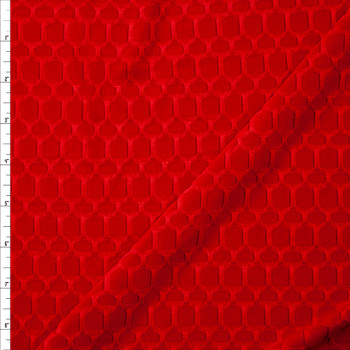 Red Honeycomb Textured Midweight Athletic Spandex Fabric By The Yard
