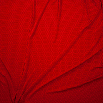 Red Honeycomb Textured Midweight Athletic Spandex Fabric By The Yard - Wide shot