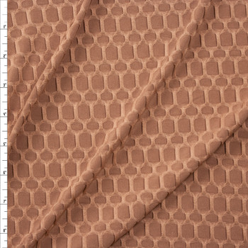 Tan Honeycomb Textured Midweight Athletic Spandex Fabric By The Yard