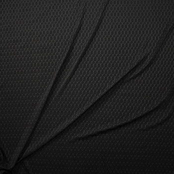 Black Honeycomb Textured Midweight Athletic Spandex Fabric By The Yard - Wide shot