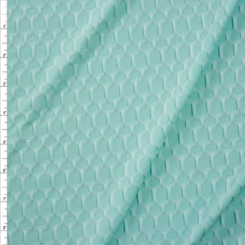 Mint Green Honeycomb Textured Midweight Athletic Spandex Fabric By The Yard
