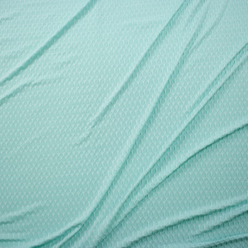 Mint Green Honeycomb Textured Midweight Athletic Spandex Fabric By The Yard - Wide shot