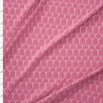 Pink Honeycomb Textured Midweight Athletic Spandex Fabric By The Yard