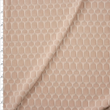 Light Tan Honeycomb Textured Midweight Athletic Spandex Fabric By The Yard