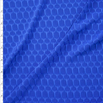 Royal Blue Honeycomb Textured Midweight Athletic Spandex Fabric By The Yard