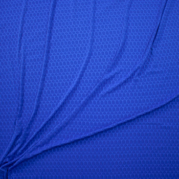 Royal Blue Honeycomb Textured Midweight Athletic Spandex Fabric By The Yard - Wide shot