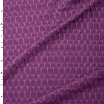Plum Honeycomb Textured Midweight Athletic Spandex Fabric By The Yard