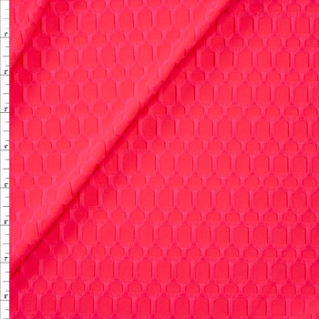 Neon Pink Honeycomb Textured Midweight Athletic Spandex Fabric By The Yard