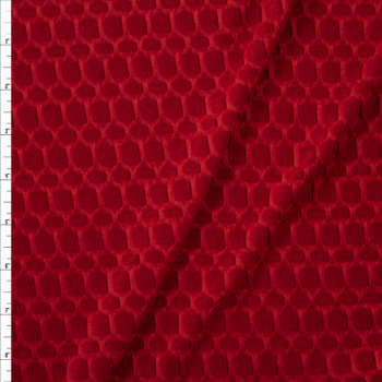 Burgundy Honeycomb Textured Midweight Athletic Spandex Fabric By The Yard