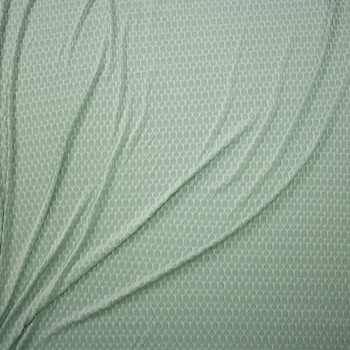 Light Sage Honeycomb Textured Midweight Athletic Spandex Fabric By The Yard - Wide shot