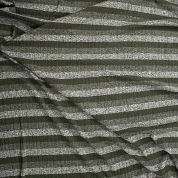 Green Horizontal Stripe Ribbed Sweater Knit Fabric By The Yard - Wide shot