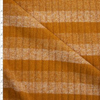 Mustard Horizontal Stripe Ribbed Sweater Knit Fabric By The Yard