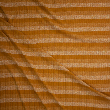 Mustard Horizontal Stripe Ribbed Sweater Knit Fabric By The Yard - Wide shot