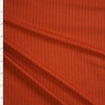 Rust Brushed Stretch Rib Knit Fabric By The Yard