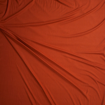 Rust Brushed Stretch Rib Knit Fabric By The Yard - Wide shot