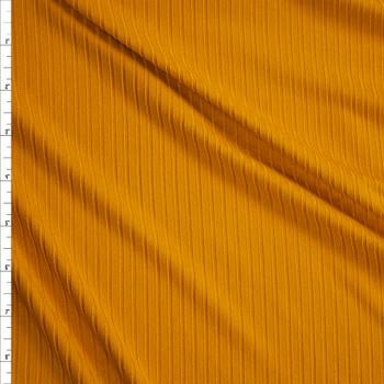 Mustard Brushed Stretch Rib Knit Fabric By The Yard