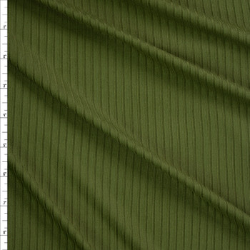 Olive Green Brushed Stretch Rib Knit Fabric By The Yard