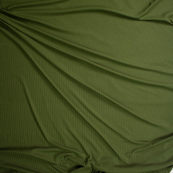 Olive Green Brushed Stretch Rib Knit Fabric By The Yard - Wide shot