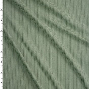 Sage Green Brushed Stretch Rib Knit Fabric By The Yard