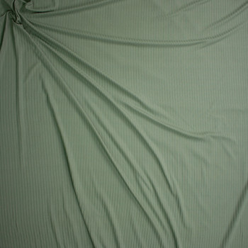 Sage Green Brushed Stretch Rib Knit Fabric By The Yard - Wide shot