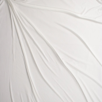 Warm White Brushed Stretch Rib Knit Fabric By The Yard - Wide shot