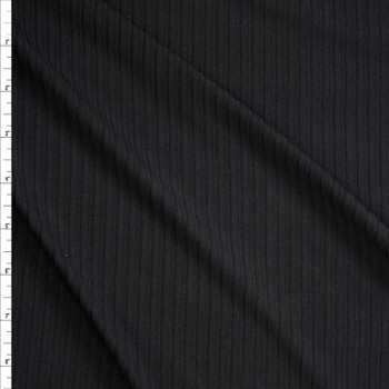 Black Brushed Stretch Rib Knit Fabric By The Yard