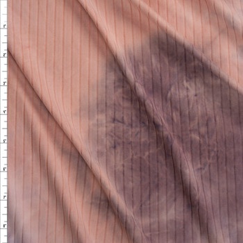 Pink and Dusty Lilac Tie Dye Brushed Stretch Rib Knit Fabric By The Yard