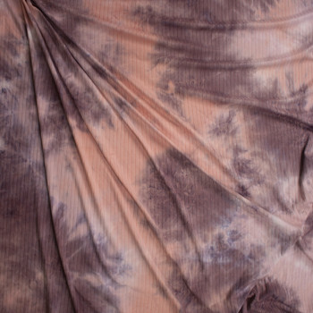 Pink and Dusty Lilac Tie Dye Brushed Stretch Rib Knit Fabric By The Yard - Wide shot