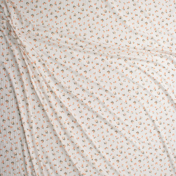 Peach and Orange Floral on Offwhite Brushed Stretch Rib Knit Fabric By The Yard - Wide shot
