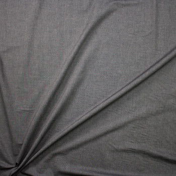 Dark Grey Light Midweight Cotton Chambray  Fabric By The Yard - Wide shot