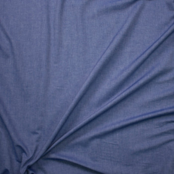 Denim Blue Light Midweight Cotton Chambray  Fabric By The Yard - Wide shot