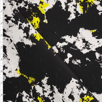 Black, Yellow, and Ivory Grunge Stretch Bull Denim Fabric By The Yard