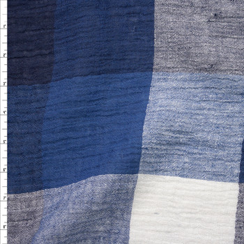 Black, Blue, and Warm White Large Plaid Designer Linen Gauze Fabric By The Yard