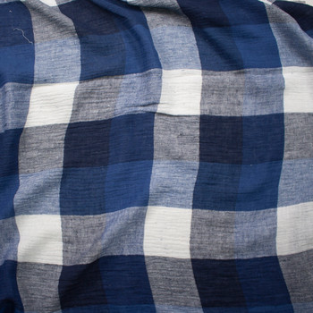 Black, Blue, and Warm White Large Plaid Designer Linen Gauze Fabric By The Yard - Wide shot