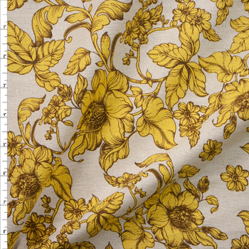 Antique Mustard and Brown Floral on Natural Midweight Designer Linen Fabric By The Yard
