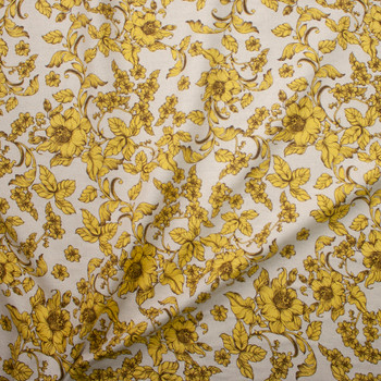 Antique Mustard and Brown Floral on Natural Midweight Designer Linen Fabric By The Yard - Wide shot