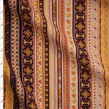 Dusty Pink, Mustard, and Ivory Ornate Stripe Soft Linen Fabric By The Yard