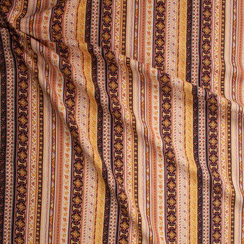 Dusty Pink, Mustard, and Ivory Ornate Stripe Soft Linen Fabric By The Yard - Wide shot