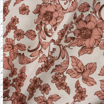 Antique Dusty Pink and Brown Floral on Natural Midweight Designer Linen Fabric By The Yard