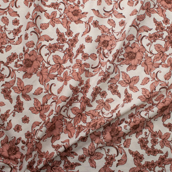 Antique Dusty Pink and Brown Floral on Natural Midweight Designer Linen Fabric By The Yard - Wide shot