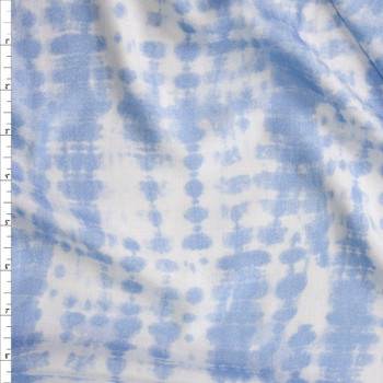 Light Blue and White Banded Grunge Lightweight Rayon Twill Fabric By The Yard