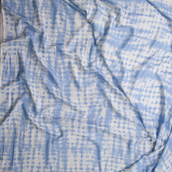 Light Blue and White Banded Grunge Lightweight Rayon Twill Fabric By The Yard - Wide shot
