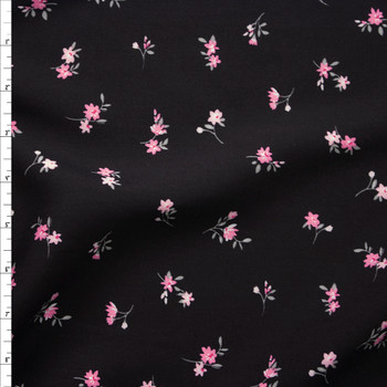 Pink Classic Small Floral on Black Rayon Challis Fabric By The Yard